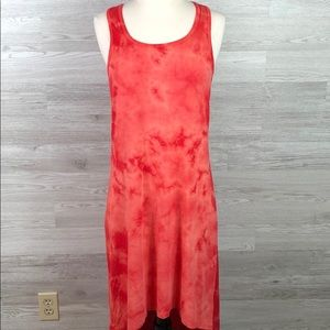 Dress Bloom Tie Dye Racer Back Hi Lo Summer Dress